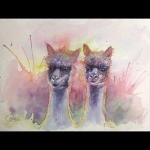 Original painting Alpacas Alpaca animal artwork